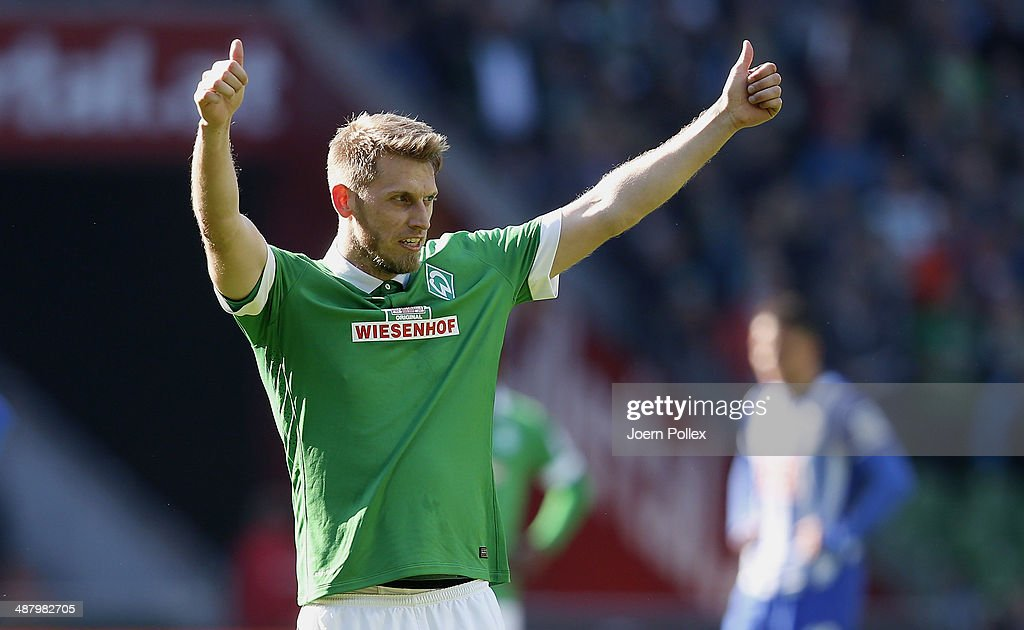 Aaron Hunt of Bremen celebrates after he scored his team's second goall during the Bundesliga match between Werder Bremen and Hertha BSC at Weserstadion on May 3, 2014 in Bremen, Germany.