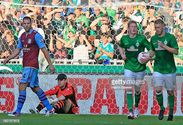 Aaron Hunt of Bremen celebrates scoring during a preseason friendly match between Werder Bremen and Aston Villa at Weserstadion on August 11 2012 in...