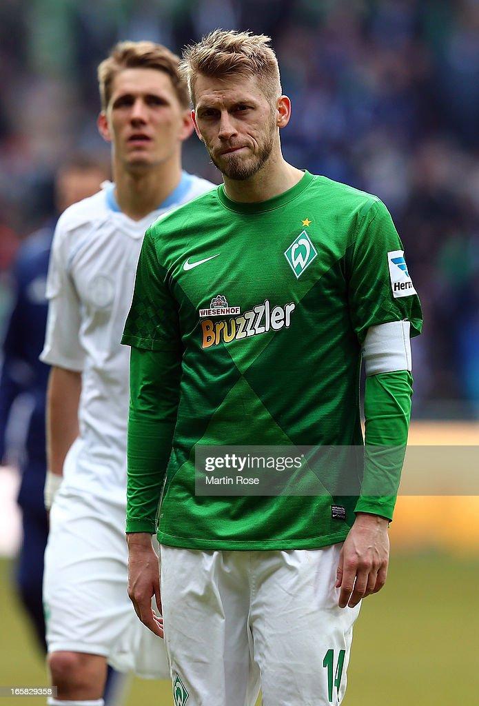 Aaron Hunt of Bremen looks dejected after the Bundesliga match between Werder Bremen and FC Schalke 04 at Weser Stadium on April 6, 2013 in Bremen, Germany.