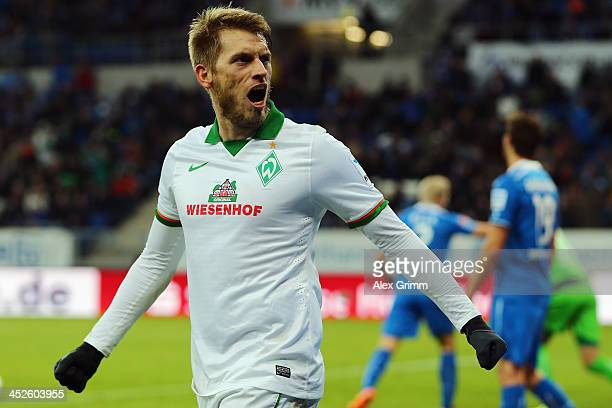 Aaron Hunt of Bremen reacts after team mate Eljero Elia scored his team's second goal during the Bundesliga match between 1899 Hoffenheim and Werder...