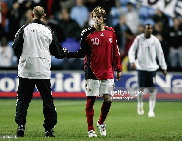 Aaron Hunt of Germany leaves the pitch disappointed after loosing 01 the Men's European U21 Championship qualifying first leg game between England...