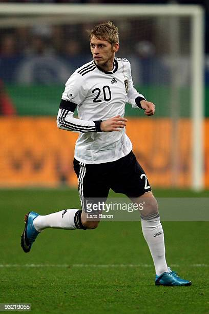 Aaron Hunt of Germany runs with the ball during the International Friendly match between Germany and Ivory Coast at the Schalke Arena on November 18...