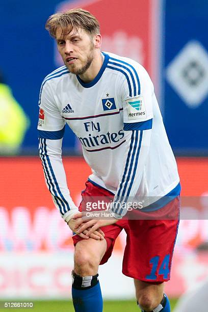 Aaron Hunt of Hamburg appears frustrated during the First Bundesliga match between Hamburger SV and FC Ingolstadt at Volksparkstadion on February 27...