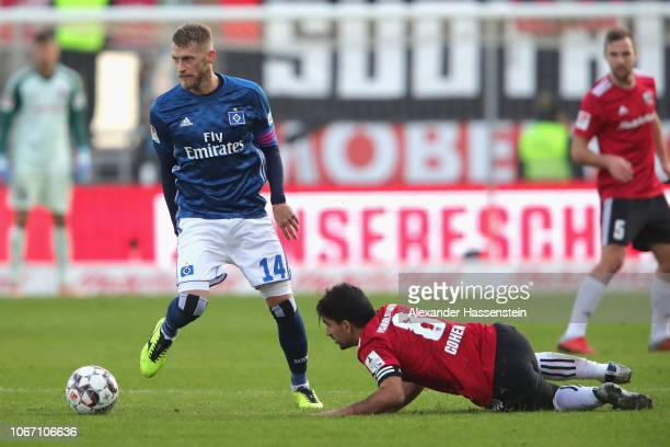 Aaron Hunt of Hamburg battles for the ball with Almog Cohen of Ingolstadt during the Second Bundesliga match between FC Ingolstadt 04 and Hamburger...