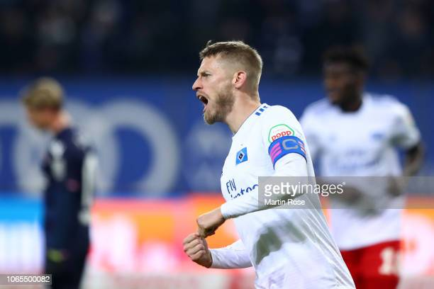 Aaron Hunt of Hamburg celebrates after scoring his team's first goal during the Second Bundesliga match between Hamburger SV and 1 FC Union Berlin at...