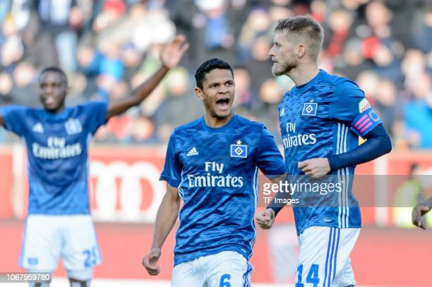 Aaron Hunt of Hamburg celebrates after scoring his team's first goal with team mates during the Second Bundesliga match between FC Ingolstadt 04 and...