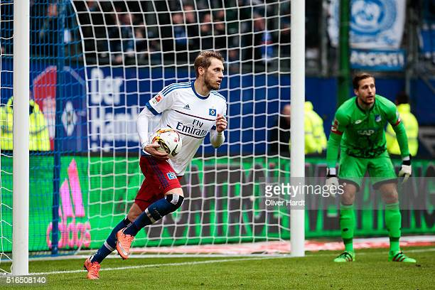 Aaron Hunt of Hamburg celebrates his penalty goal during the Bundesliga match between Hamburger SV and 1899 Hoffenheim at Volksparkstadion on March...