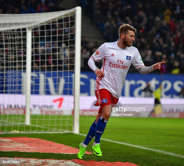 Aaron Hunt of Hamburg celebrates scoring his goal during the Bundesliga match between Hamburger SV and SC Freiburg at Volksparkstadion on February 18...