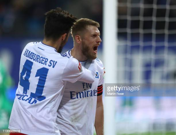 Aaron Hunt of Hamburg celebrates scoring his goal with Berkay Özcan during the Second Bundesliga match between Hamburger SV and SpVgg Greuther Fuerth...