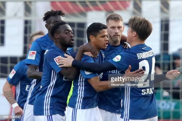 Aaron Hunt of Hamburg celebrates scoring the opning goal with his team mates during the Second Bundesliga match between FC Ingolstadt 04 and...