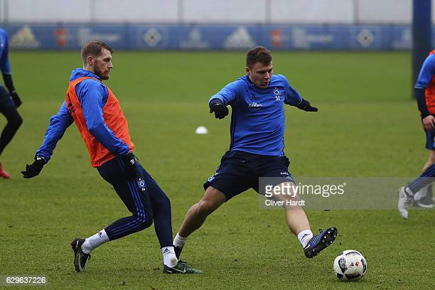 Aaron Hunt of Hamburg in action during a training session at Volksparkstadion on December 14 2016 in Hamburg Germany
