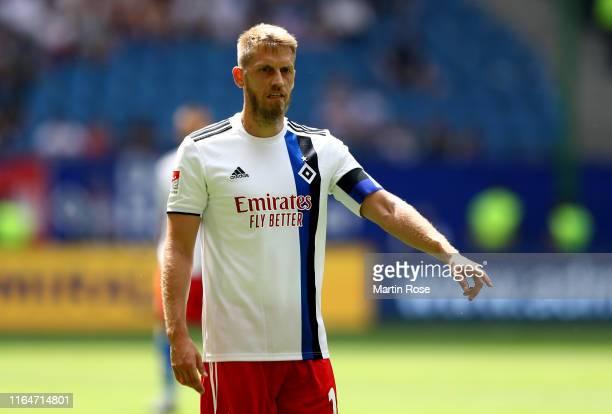 Aaron Hunt of Hamburg look on during the Second Bundesliga match between Hamburger SV and SV Darmstadt 98 at Volksparkstadion on July 28 2019 in...