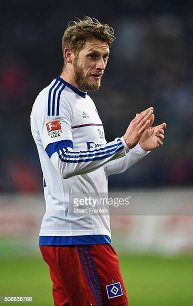 Aaron Hunt of Hamburg looks on during the Bundesliga match between Hamburger SV and FC Bayern Muenchen at Volksparkstadion on January 22 2016 in...