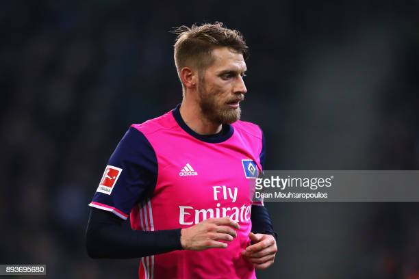 Aaron Hunt of Hamburg looks on during the Bundesliga match between Borussia Moenchengladbach and Hamburger SV at BorussiaPark on December 15 2017 in...