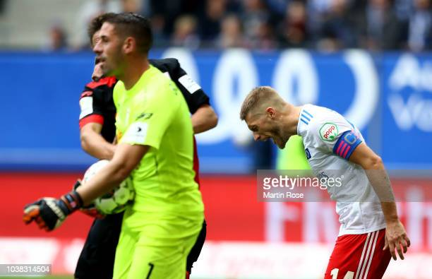 Aaron Hunt of Hamburg reacts after he fails to score a goal by penalty during the Second Bundesliga match between Hamburger SV and SSV Jahn...