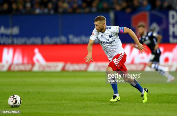 Aaron Hunt of Hamburg runs with the ball during the Second Bundesliga match between Hamburger SV and DSC Arminia Bielefeld at Volksparkstadion on...