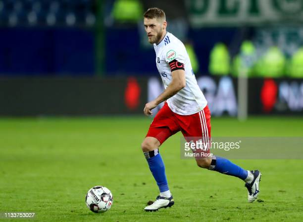 Aaron Hunt of Hamburg runs with the ball during the Second Bundesliga match between Hamburger SV and SpVgg Greuther Fuerth at Volksparkstadion on...