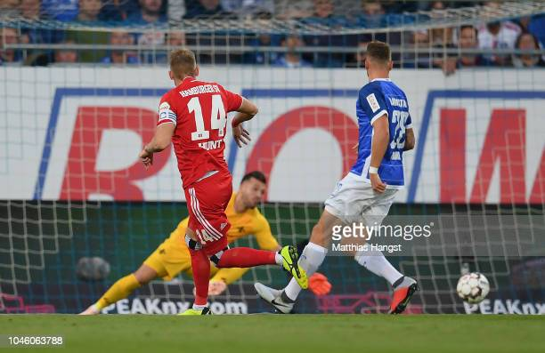 Aaron Hunt of Hamburg scores his team's first goal during the Second Bundesliga match between SV Darmstadt 98 and Hamburger SV at...