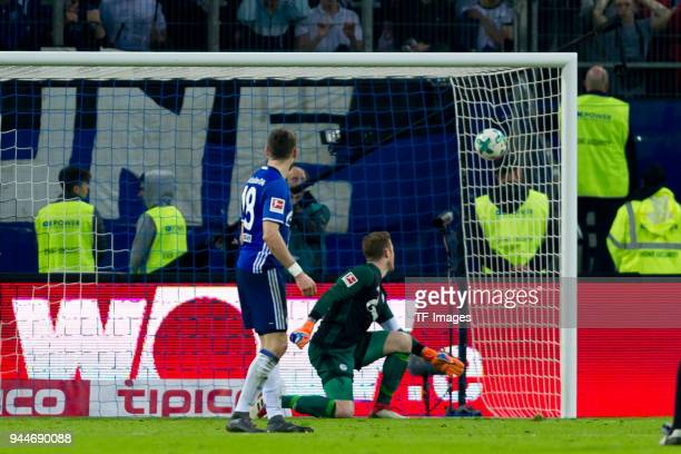 Aaron Hunt of Hamburg scores the team`s third goal during the Bundesliga match between Hamburger SV and FC Schalke 04 at Volksparkstadion on April 7...