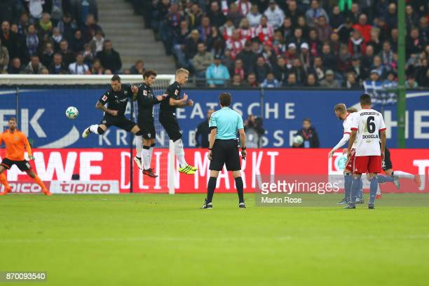 Aaron Hunt of Hamburg shoots a free kick that leads to a goal to make it 10 during the Bundesliga match between Hamburger SV and VfB Stuttgart at...