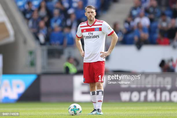 Aaron Hunt of Hamburg waits to take a free kick during the Bundesliga match between TSG 1899 Hoffenheim and Hamburger SV at Wirsol RheinNeckarArena...