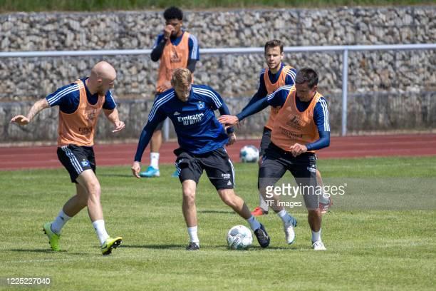 Aaron Hunt of Hamburger SV and Christoph Moritz of Hamburger SV during the training session of Hamburger SV on May 16 2020 in Herzogenaurach Germany