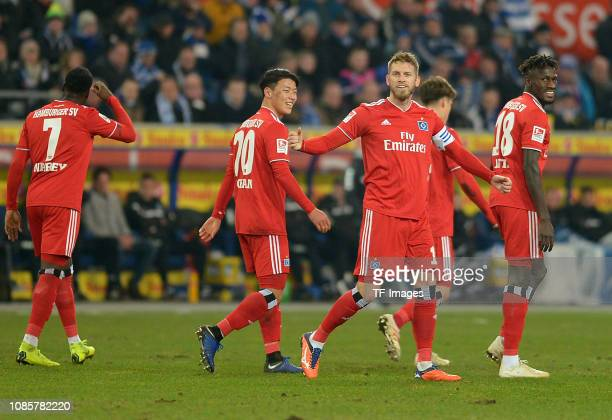 Aaron Hunt of Hamburger SV celebrates after scoring his team's second goal with team mates during the Second Bundesliga match between MSV Duisburg...