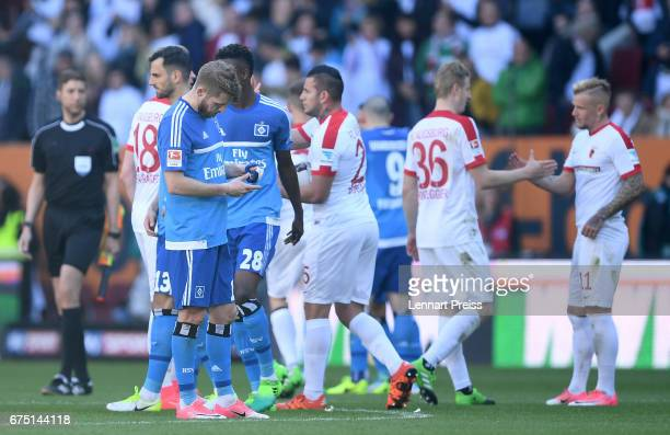 Aaron Hunt of Hamburger SV looks on after the Bundesliga match between FC Augsburg and Hamburger SV at WWK Arena on April 30 2017 in Augsburg Germany