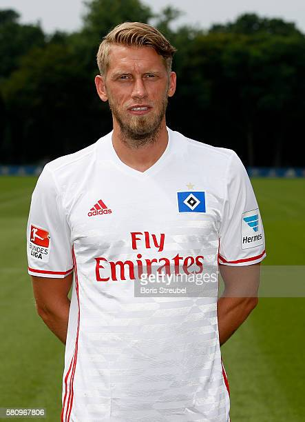 Aaron Hunt of Hamburger SV poses during the Hamburger SV Team Presentation at Volksparkstadion on July 25 2016 in Hamburg Germany