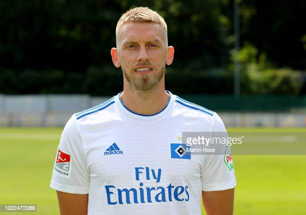 Aaron Hunt of Hamburger SV poses during the team presentation at on July 20 2018 in Hamburg Germany