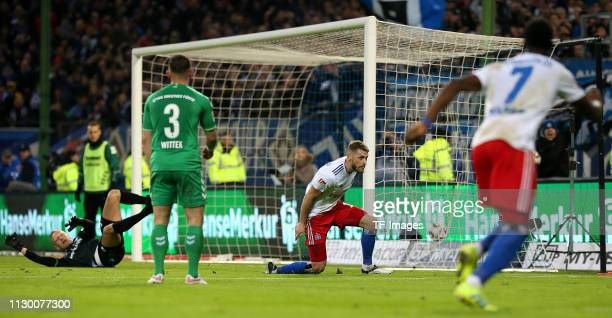 Aaron Hunt of Hamburger SV scores his team's first goal during the Second Bundesliga match between Hamburger SV and Greuther Fuerth at...