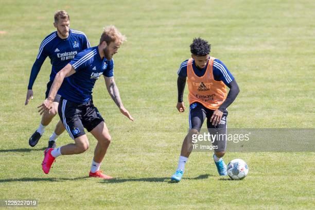 Aaron Hunt of Hamburger SV Timo Letschert of Hamburger SV and Xavier Amaechi of Hamburger SV during the training session of Hamburger SV on May 16...