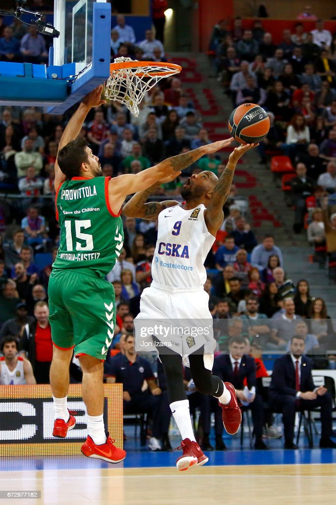 Aaron Jackson, #9 of CSKA Moscow competes with Nicolas Laprovittola, #15 of Baskonia Vitoria Gasteiz during the 2016/2017 Turkish Airlines EuroLeague Playoffs leg 3 game between Baskonia Vitoria Gasteiz v CSKA Moscow at Fernando Buesa Arena on April 25, 2017 in Vitoria-Gasteiz, Spain.