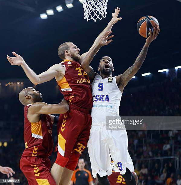 Aaron Jackson #9 of CSKA Moscow competes with Sinan Guler #32 of Galatasaray Odeabank Istanbul during the 2016/2017 Turkish Airlines EuroLeague...