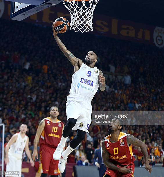 Aaron Jackson #9 of CSKA Moscow in action during the 2016/2017 Turkish Airlines EuroLeague Regular Season Round 1 game between Galatasaray Odeabank...