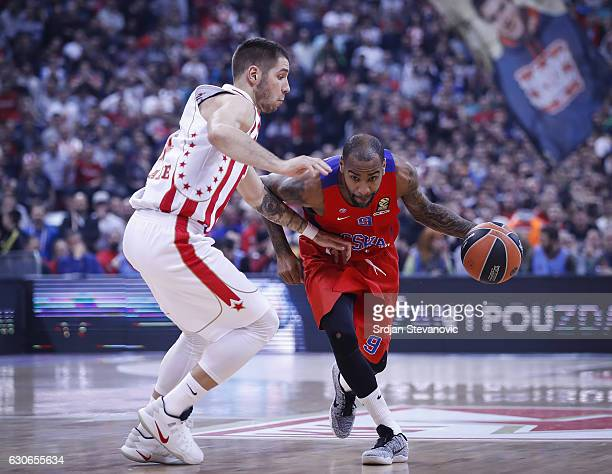 Aaron Jackson of CSKA Moscow in action against Stefan Jovic of Crvena Zvezda during the 2016/2017 Turkish Airlines Euroleague Regular Season Round 15...