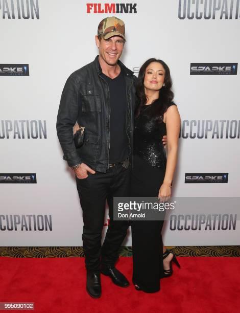 Aaron Jeffrey and Stephany Jacobson attend the Occupation world premiere on July 10 2018 in Sydney Australia