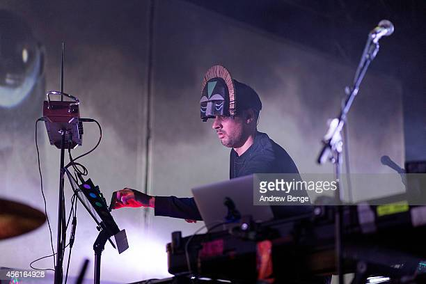 Aaron Jerome of SBTRKT performs on stage at Leeds O2 Academy on September 26 2014 in Leeds United Kingdom