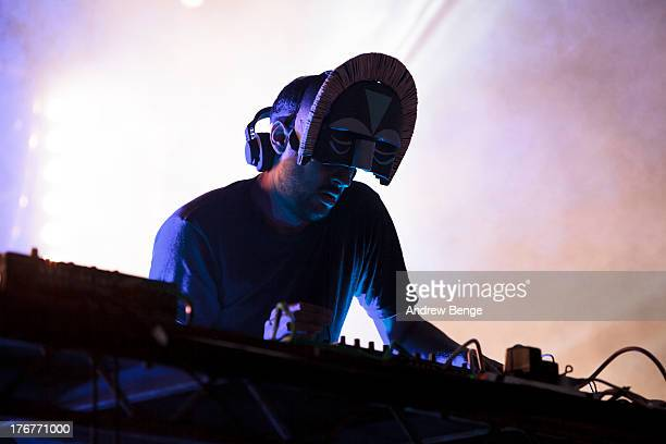 Aaron Jerome of SBTRKT performs on stage on Day 3 of Beacons Festival at Heslaker Farm on August 18, 2013 in Skipton, England.