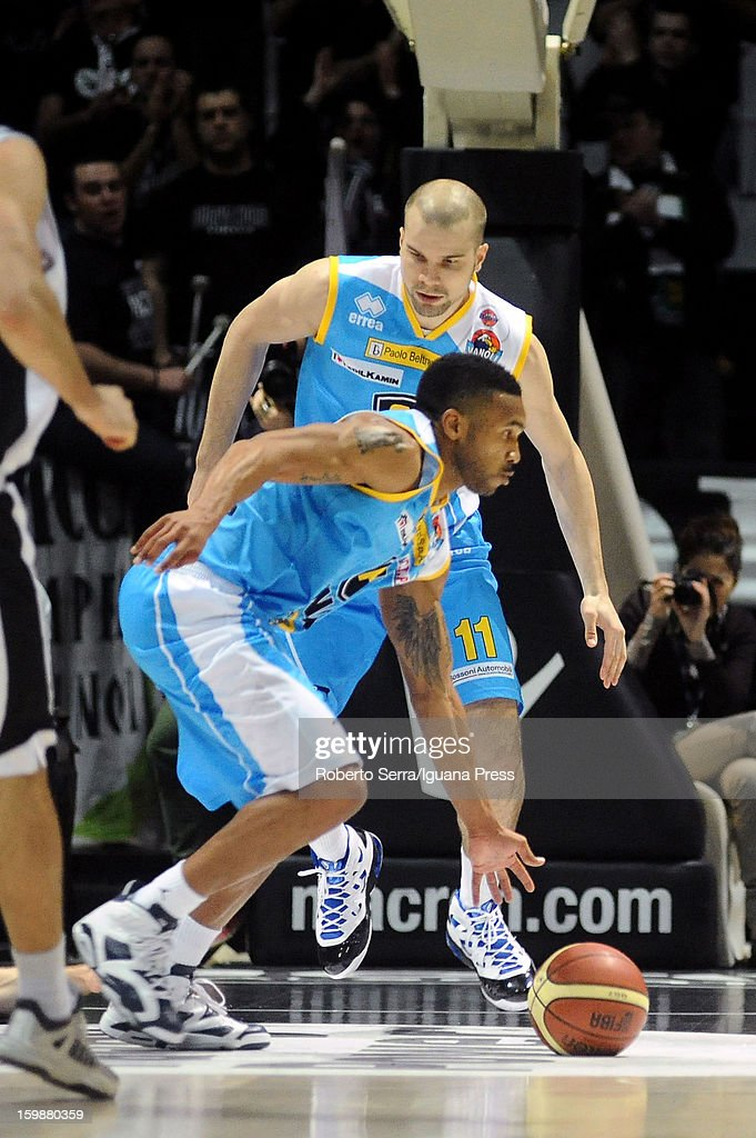 Aaron Johnson #21 and Tukka Kotti # 11 of Vanoli in action during the LegaBasket Serie A match between Virtus SAIE3 Bologna and Vanoli Cremona at Futurshow Station on January 20, 2013 in Bologna, Italy.
