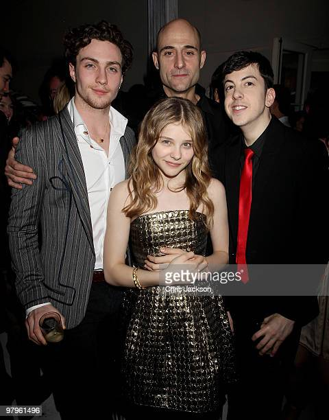 Aaron Johnson, Chloe Moretz, Mark Strong and Christopher Mintz-Plasse attend the Kick-Ass European Film Premiere after-party at director Matthew...