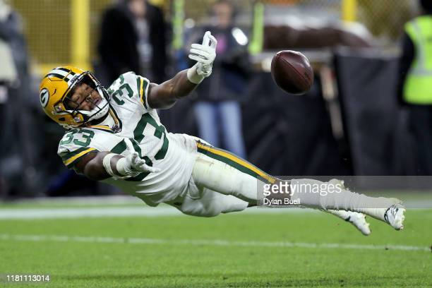Aaron Jones of the Green Bay Packers fails to make a catch in the second quarter against the Detroit Lions at Lambeau Field on October 14 2019 in...