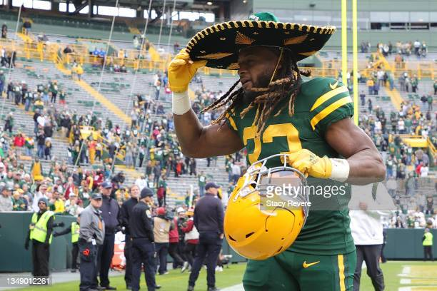 Aaron Jones of the Green Bay Packers leaves the field following a game against the Washington Football Team at Lambeau Field on October 24, 2021 in...