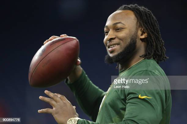 Aaron Jones of the Green Bay Packers warms up prior to the start of the game against the Detroit Lions at Ford Field on December 31 2017 in Detroit...