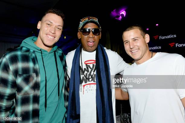 Aaron Judge Dennis Rodman and Anthony Rizzo attend Michael Rubin's Fanatics Super Bowl Party at Loews Miami Beach Hotel on February 01 2020 in Miami...