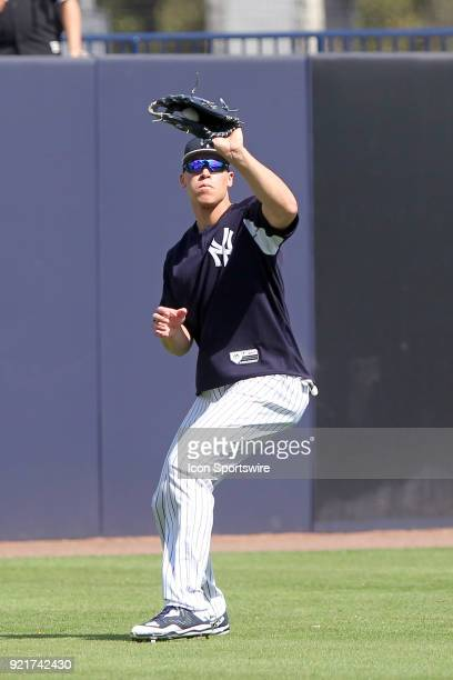 Aaron Judge makes a catch in the outfield during the New York Yankees spring training workout on February 20 at George M Steinbrenner Field in Tampa...