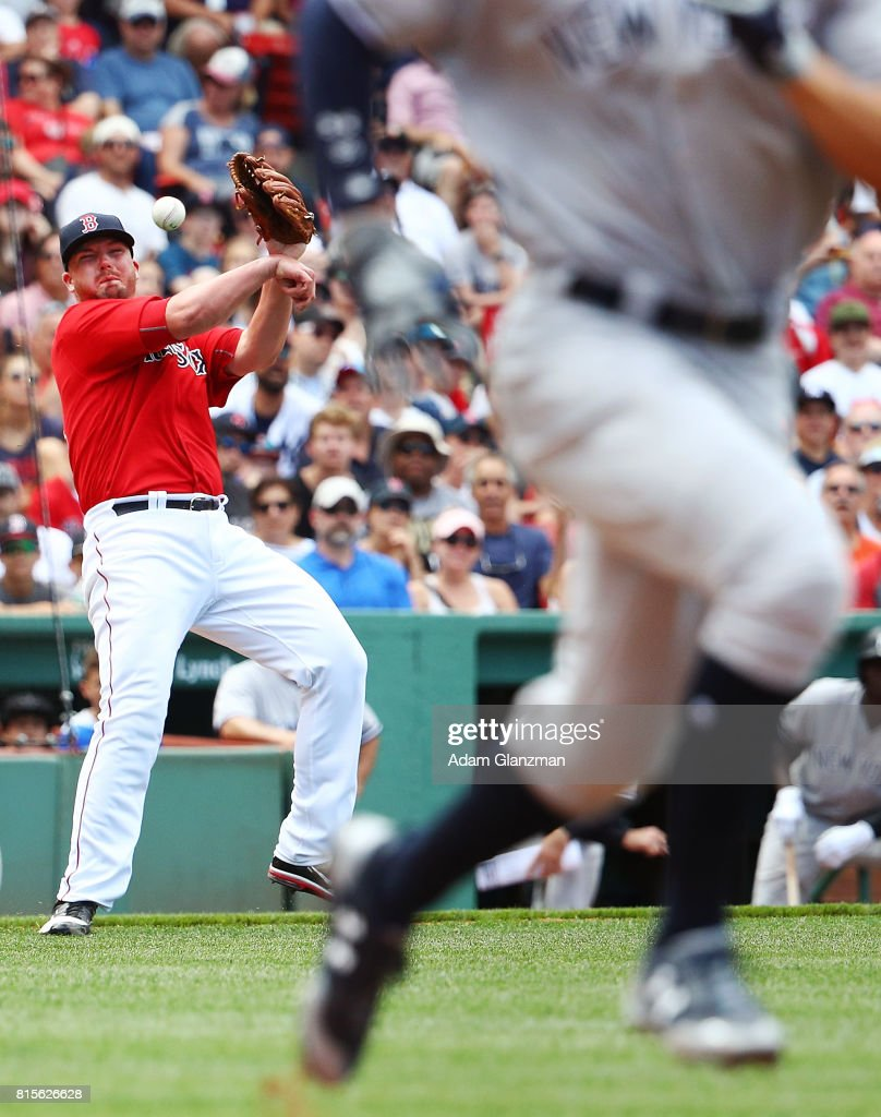 Aaron Judge #99 of the New York runs to first base as Austin Maddox #71 of the Boston Red Sox throws to first in the seventh inning during game one of a doubleheader at Fenway Park on July 16, 2017 in Boston, Massachusetts.