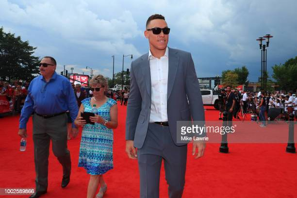 Aaron Judge of the New York Yankees and the American League attends the 89th MLB AllStar Game presented by MasterCard red carpet at Nationals Park on...