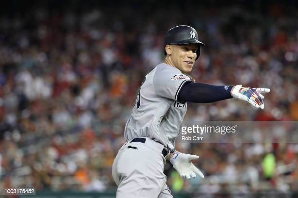 Aaron Judge of the New York Yankees and the American League during the 89th MLB AllStar Game presented by Mastercard at Nationals Park on July 17...