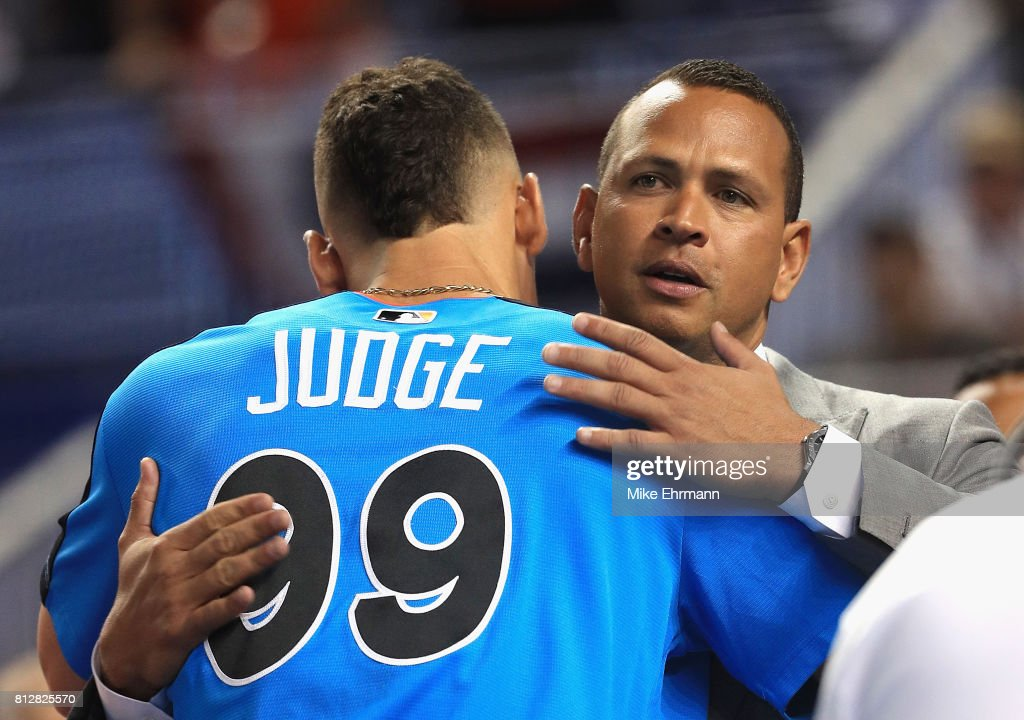 Aaron Judge #99 of the New York Yankees and the American League greets former MLB player Alex Rodriguez during batting practice for the 88th MLB All-Star Game at Marlins Park on July 11, 2017 in Miami, Florida.